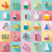 Chemistry Science Icon Set. Flat Set Of Chemistry Science Vector Icons For Web Design poster
