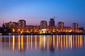 night city of Krasnoyarsk on Yenisei river