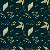 Autumn Leaves Floral Seamless Pattern. Yellow Green Leaf On Dark Green Background. Falling Leaf Cray poster