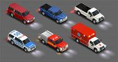 Transport Realistic Isometric Set Of Police Automobile Emergency Vehicle Van Car Truck With Lights O poster