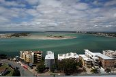 picture of bribie  - Looking out over Caloundra across to Bribie Island with units on the shoreline - JPG