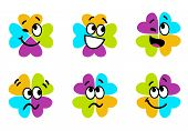 Cute Colorful Four Leaf Clover Collection Isolated On White..