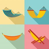 Hammock Icon Set. Flat Set Of Hammock Icons For Web Design poster