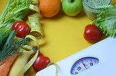 Diet And Healthy Life Concept. Green Apple And Weight Scale, Measure Tap With Fresh Vegetable, Clean poster