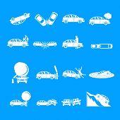 Accident Car Crash Case Icons Set. Simple Illustration Of 16 Accident Car Crash Case Icons For Web poster