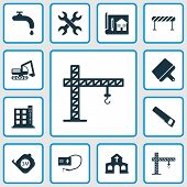 Construction Icons Set With Crane, Putty Knife, Roulette And Other Blueprint Elements. Isolated  Ill poster