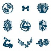 Set Of Vector Fitness Workout And Weightlifting Gymnasium Theme Illustrations Made Using Dumbbells A poster