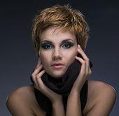 foto of beautiful woman face  - beauty woman on gray background - JPG