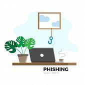 Phishing Vector Illustration. Hacking And Data Security Concept. Fishing Hook Stealing Personal Data poster