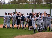 Spokane Valley Community College baseball team celebrates win vs. Treasure Valley Community College
