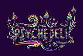 Psychedelic Fantasy Mushrooms, Plants And Word Psychedelic. Dood poster