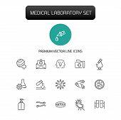 Medical Laboratory Icons. Set Of Line Icons. Urgent Help, Test, Pill. Medical Research Concept. Vect poster