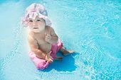 cute little girl in water pool