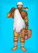 Vector Pop Art Caveman In Fur Pants, White Hat And Footwear. Hunter Holds Wild Bear Head, Prey. Nean poster