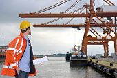 A man wearing a safety coat and a hard hat inspecting the huge cranes at a container harbor