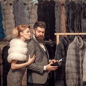 Purchase, Business, Moneybags. Date, Couple, Love, Man And Woman. Woman In Fur Coat With Man, Shoppi poster