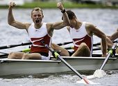 AMSTERDAM-JULY 23: Noemlem and Nielsen (Denmark BLM4x) Cheer in viking style as they  win the gold m