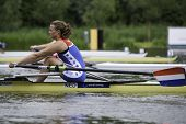 AMSTERDAM-JULY 22: Nicole Beukers (Netherlands starts in the Women's Single sculls repechage 2 durin