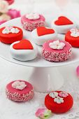 Sweet Valentine Petit Fours on a cake stand