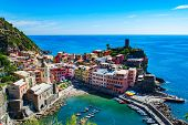 Vernazza, Cinque Terre, Italy, Ligurian cost of Italy. Stunning view of one of 5 villages of Cinque  poster