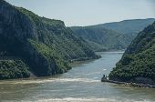 Danube Border Between Romania And Serbia. Landscape In The Danube Gorges.the Narrowest Part Of The G poster