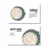 Hand Drawn Coffee Cup Business Card. Hot Drink Flyer, Personal Decoration. Irish Coffee Latte Cool D poster