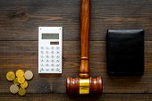 Financial Failure, Bankruptcy Concept. Personal Bankruptcy. Judge Gavel, Wallet, Coins, Calculator O poster