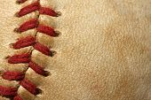 Macro of Baseball threads for sports background