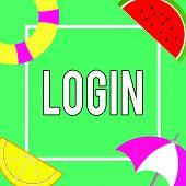 Conceptual Hand Writing Showing Login. Business Photo Showcasing Entering Website Blog Using Usernam poster