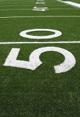Yard Lines of a Football Field starting at the Fifty