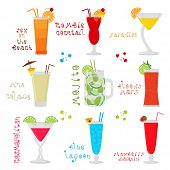 Vector Icon Illustration Logo For Sweet Alcohol Cocktail In Glass Glassware. Cocktail Pattern Consis poster