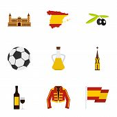 Culture Features Of Spain Icons Set. Flat Illustration Of 9 Culture Features Of Spain Icons For Web poster