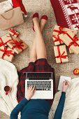Christmas Online Shopping, Top View. Woman Makes Order On Blank Laptop And Creating Wish List For Wi poster
