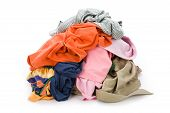 pic of dirty-laundry  - dirty clothing with white background close up - JPG