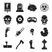 Zombie Icons Set Parts. Simple Illustration Of 16 Zombie Parts Icons For Web poster