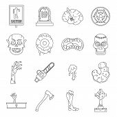 Zombie Icons Set Parts. Outline Illustration Of 16 Zombie Parts Icons For Web poster