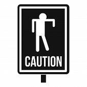 Zombie Road Sign Icon. Simple Illustration Of Zombie Road Sign Icon For Web poster