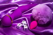 Violet Vibrator And Cubes For Sex Games, Toys Only For Adult. poster