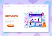 Site Constructor, Website Builder Online Service Page Flat Vector Template In Pastel Colors With Nav poster