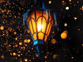 A Magical Old Street Lantern Shines On The Street At Night. Many Bright Lights Around.. Vintage Old  poster