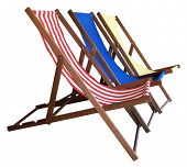 Three Deckchairs isolated with clipping path