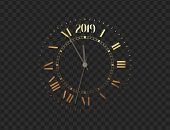 2019 New Year Gold Clock, Five Minutes To Midnight. Merry Christmas poster