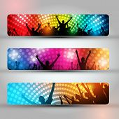EPS10 Set of Three Headers - Party People Vector Background - Dancing Young People