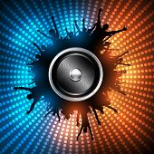 EPS10 Party People with Audio Speaker Vector Background - Dancing Young People