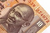 Mohandas (Mahatma) Gandhi's image on an Indian 10 rupee note.