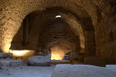 The kitchen at Karak Castle, Jordan, the main Crusader stronghold in its province of Oultre Jourdain