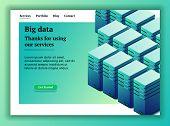Big Data. Backup Copy. Concept Of Big Data Processing. Datacenter Isometric Vector Illustration. Big poster