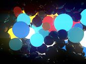 Reflective Glowing Balls On Black Background. Abstract Composition Of A Large Number Of Multi-colore poster