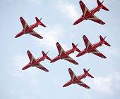 The Royal Air Force Red Arrows team in action in Qatar.