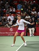Maria Sharapova, world No.5, keeps her eyes on the ball during her match with fellow Russian Galina